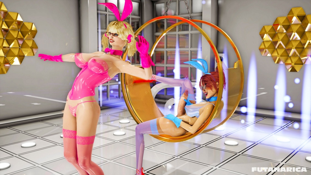 Futanarica Bunnies Riot futa fuck girl latex bunny sexy dance in front of excited futanari dickgirl