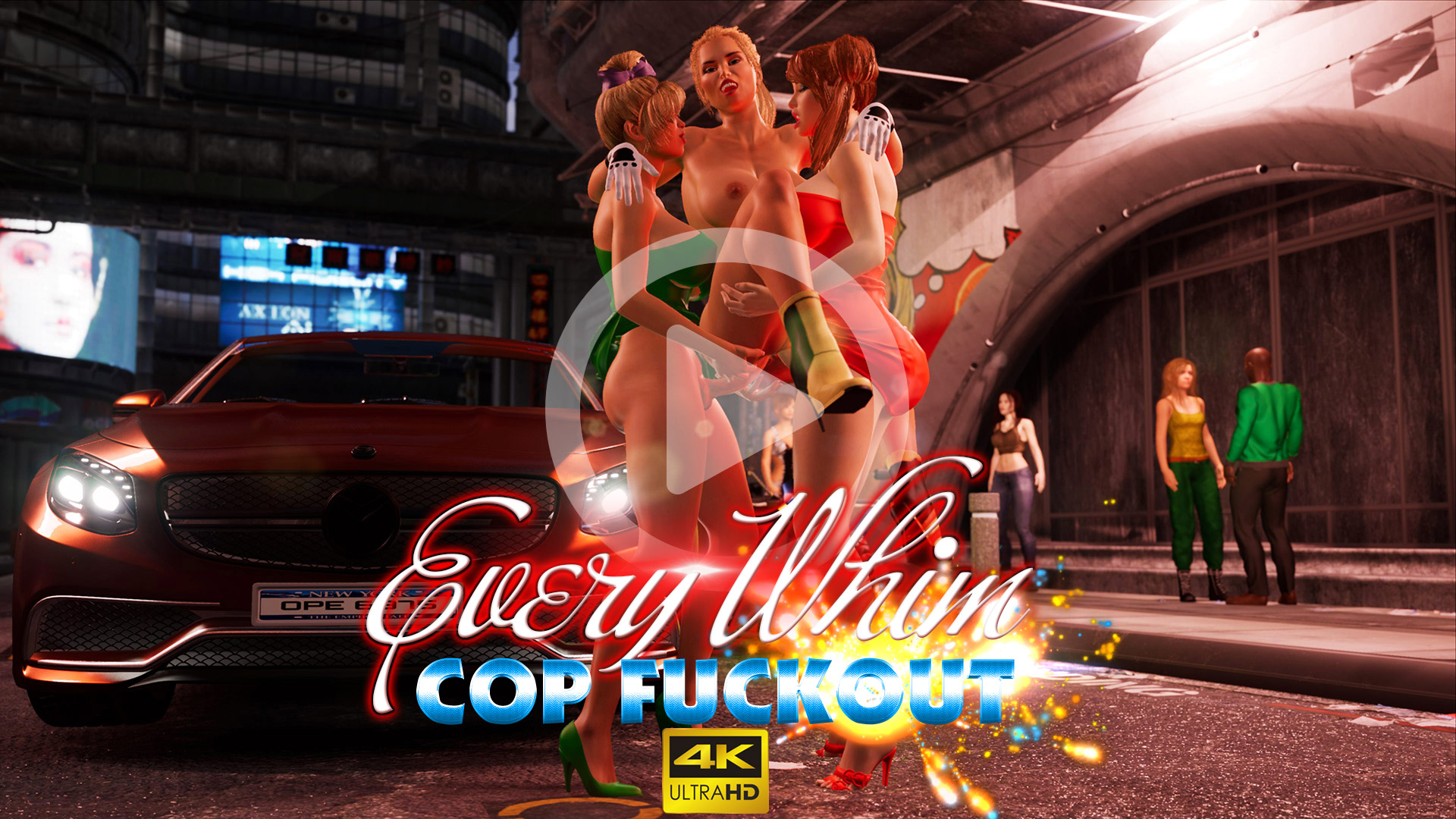 Every Whim - Cop Fuckout public police officer fuck by two futa bimbo on crowded city street video trailer