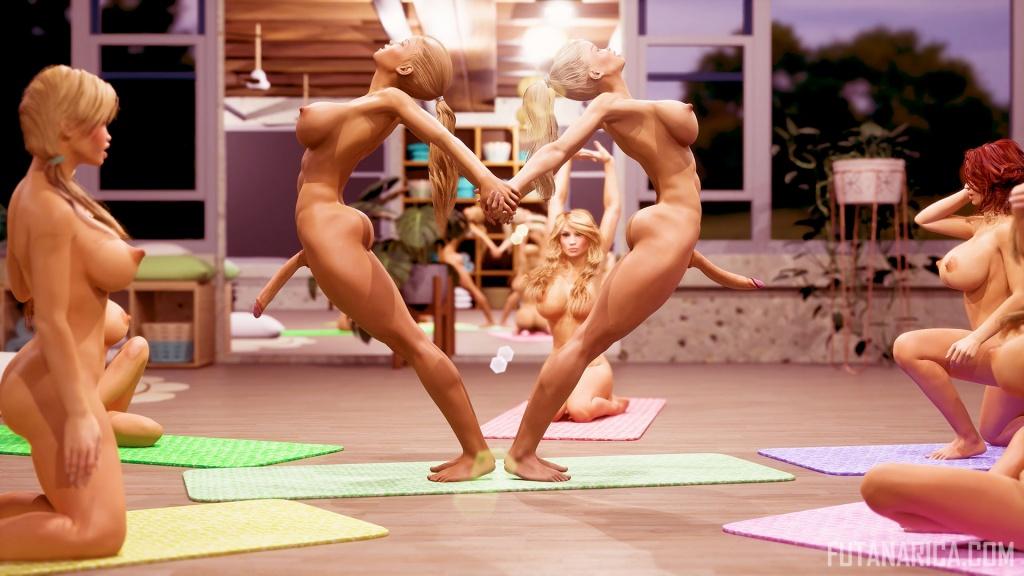 Heart shaped futa dickgirls bodies Yoga Class warm up