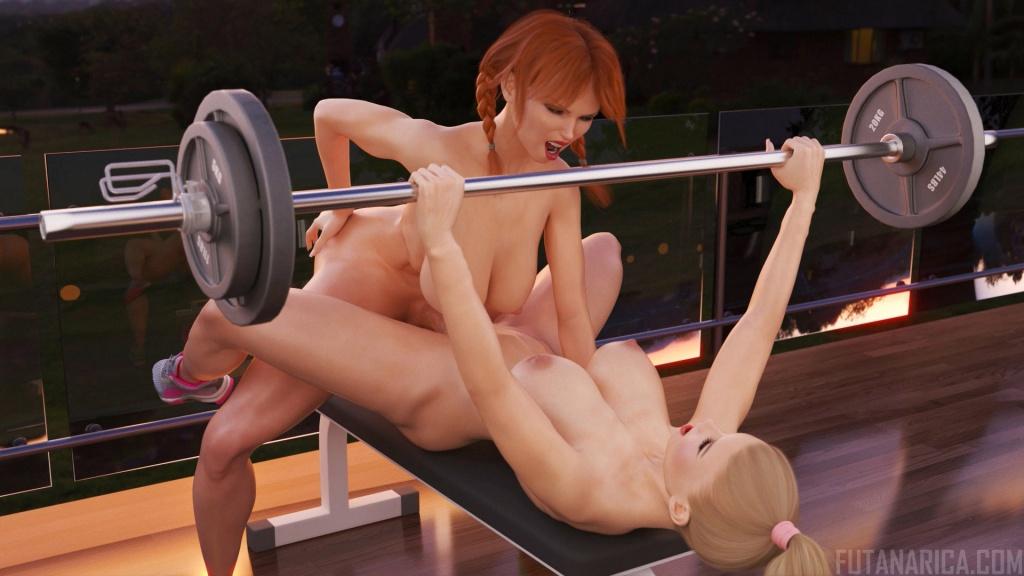 My Personal Futa Trainer - Beast Mode bench press futa fuck girl workout animation