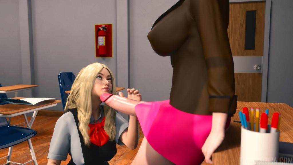 Futa teacher blonde student girl huge futanari cock blowjob