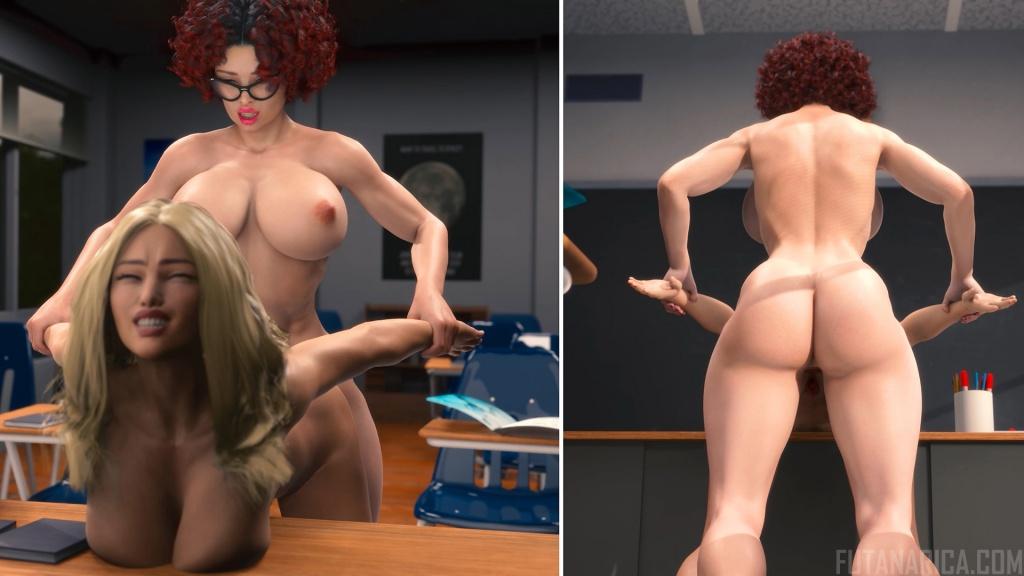 Futanari teacher fuck high school girl on table of classroom 4K animation by Futanarica